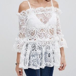 Misguided Bardot Lace White Off The Shoulder Top